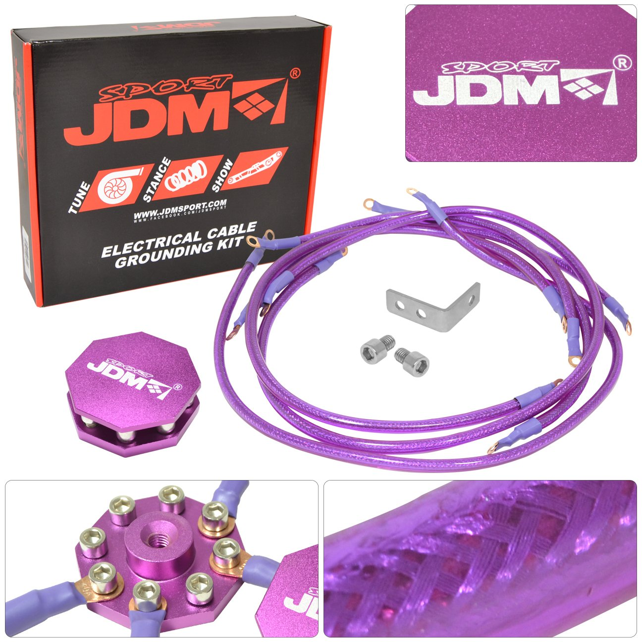 JDM Sport Universal 10MM 8 Point Octagon Earth Ground Grounding Wire Cable Kit System Purple
