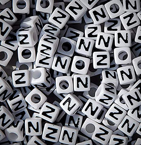 100pc 7mm Alphabet Beads White with Glossy Black Letters Letter I