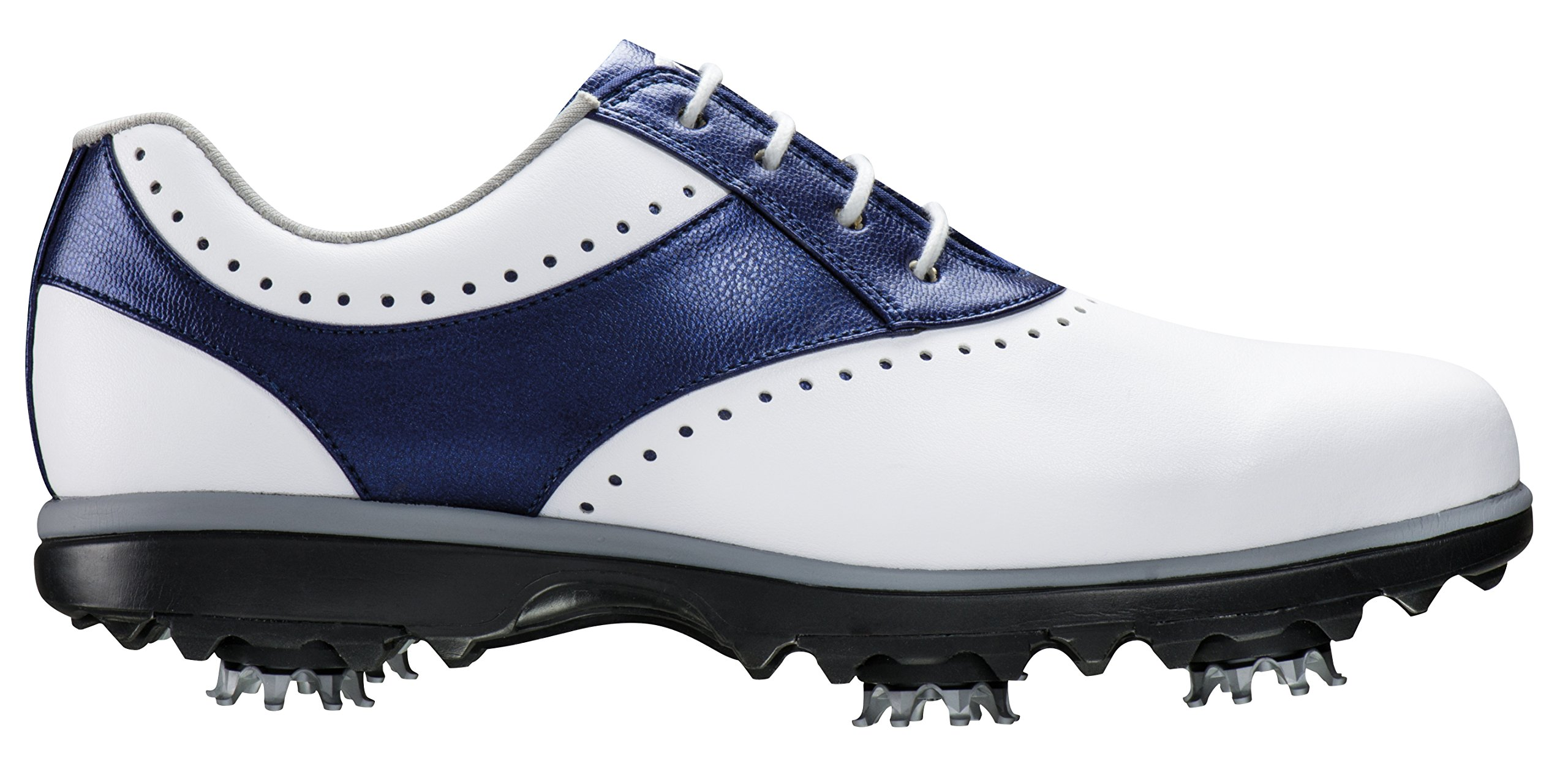 FootJoy Women's eMerge Spiked Golf Shoes, Close-out (7 B(M) US, White/Navy Linen 93900)