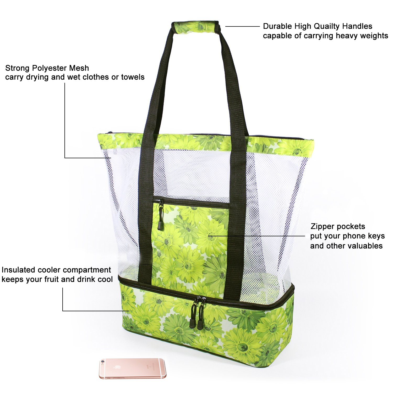 Rotanet Mesh Beach Tote Bag-Zipper Top with Insulated Picnic Cooler Extra Large (Green Flower) by ROTANET (Image #2)