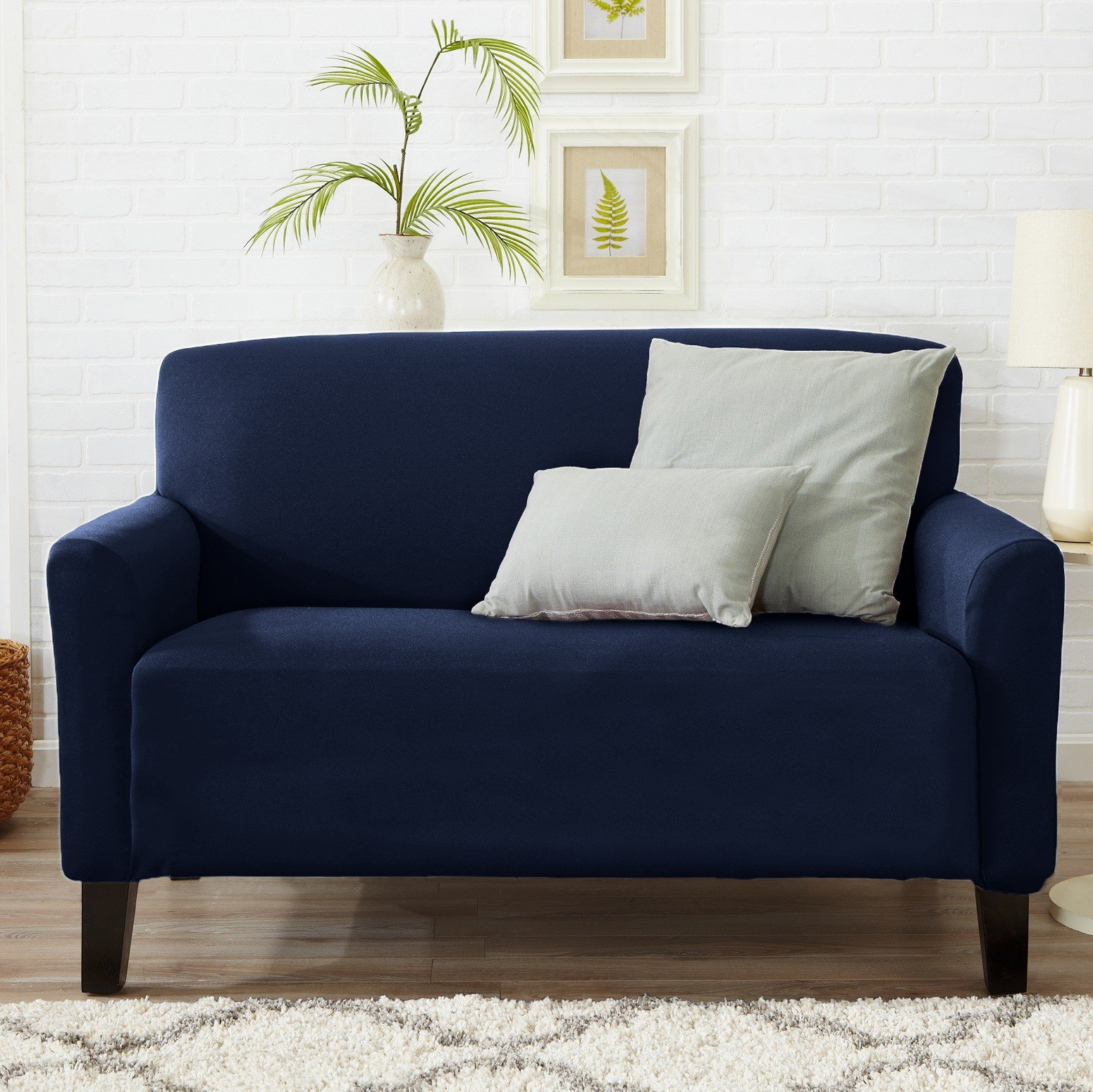 Home Fashion Designs Form Fit, Slip Resistant, Stylish Furniture Cover/Protector Featuring Lightweight Stretch Twill Fabric. Brenna Collection Strapless Slipcover. By (Loveseat, Navy - Solid)