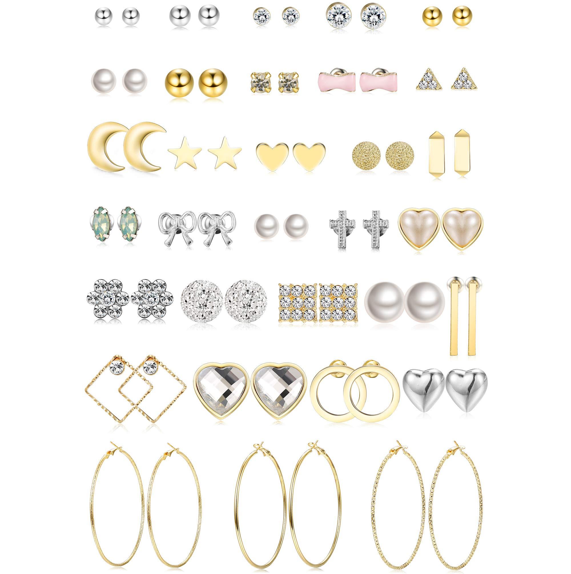 Jstyle 32 Pairs Assorted Multiple Stud Earrings for Women Girls Simple Cute Big Hoop Earrings Set
