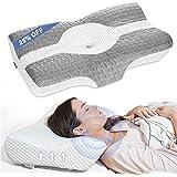 Elviros Cervical Pillow, Memory Foam Bed Pillows for Neck Pain Relief, Adjustable Ergonomic Orthopedic Contour Support Pillow