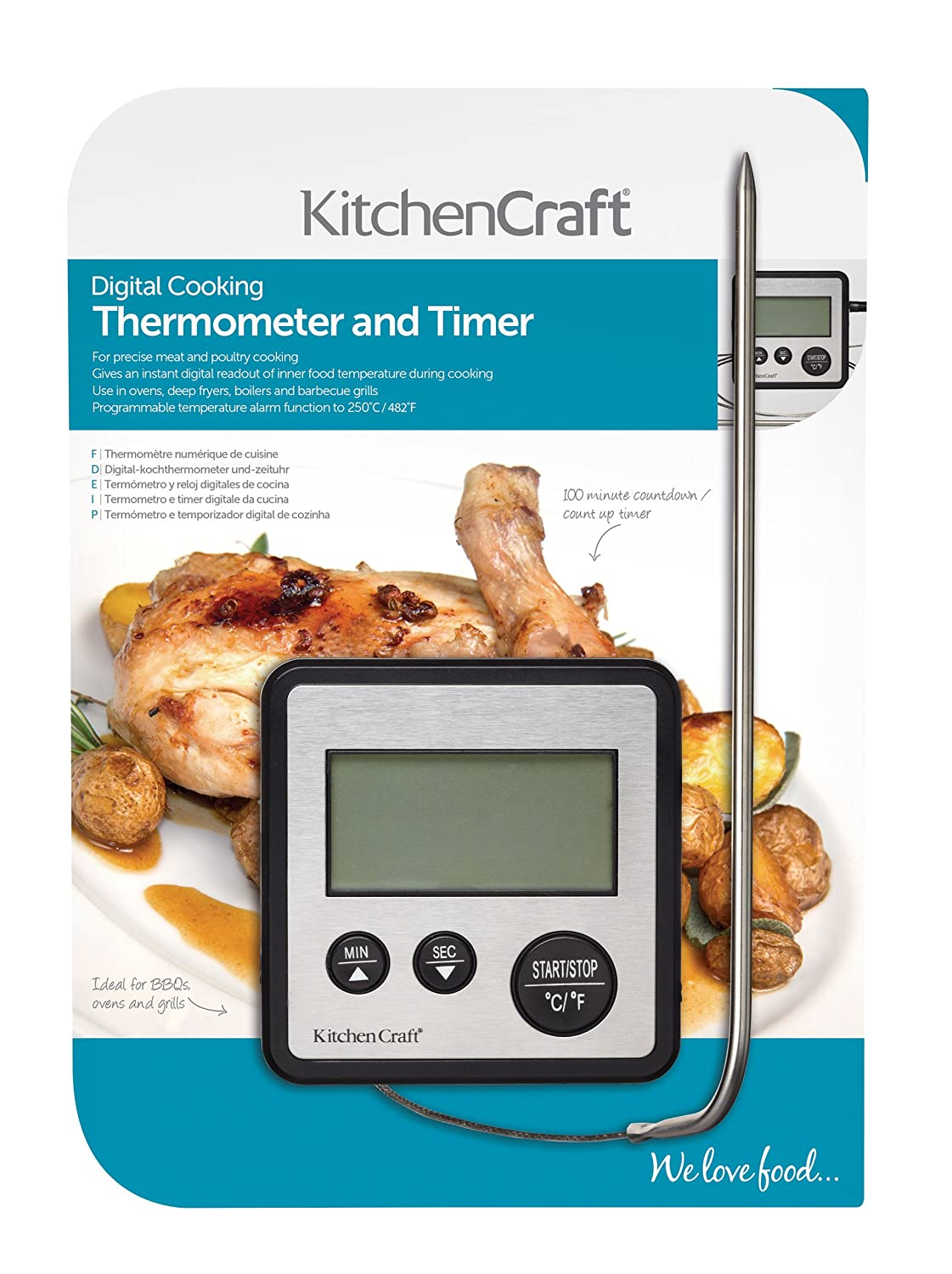 Amazon.com: 0 To 250 Deg C Digital Cooking Thermometer And Timer: Kitchen & Dining