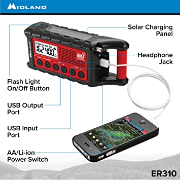 Midland - ER310, Emergency Crank Weather AM/FM Radio - Multiple Power  Sources, SOS Emergency Flashlight, Ultrasonic Dog Whistle, NOAA Weather  Scan +