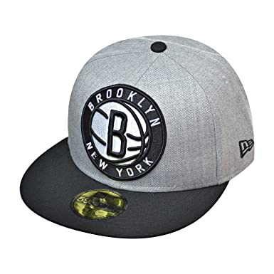 New Era Brooklyn Nets 59Fifty NBA Men s Fitted Hat Cap Grey Heather Black  80294607 ( 82d65b0ef