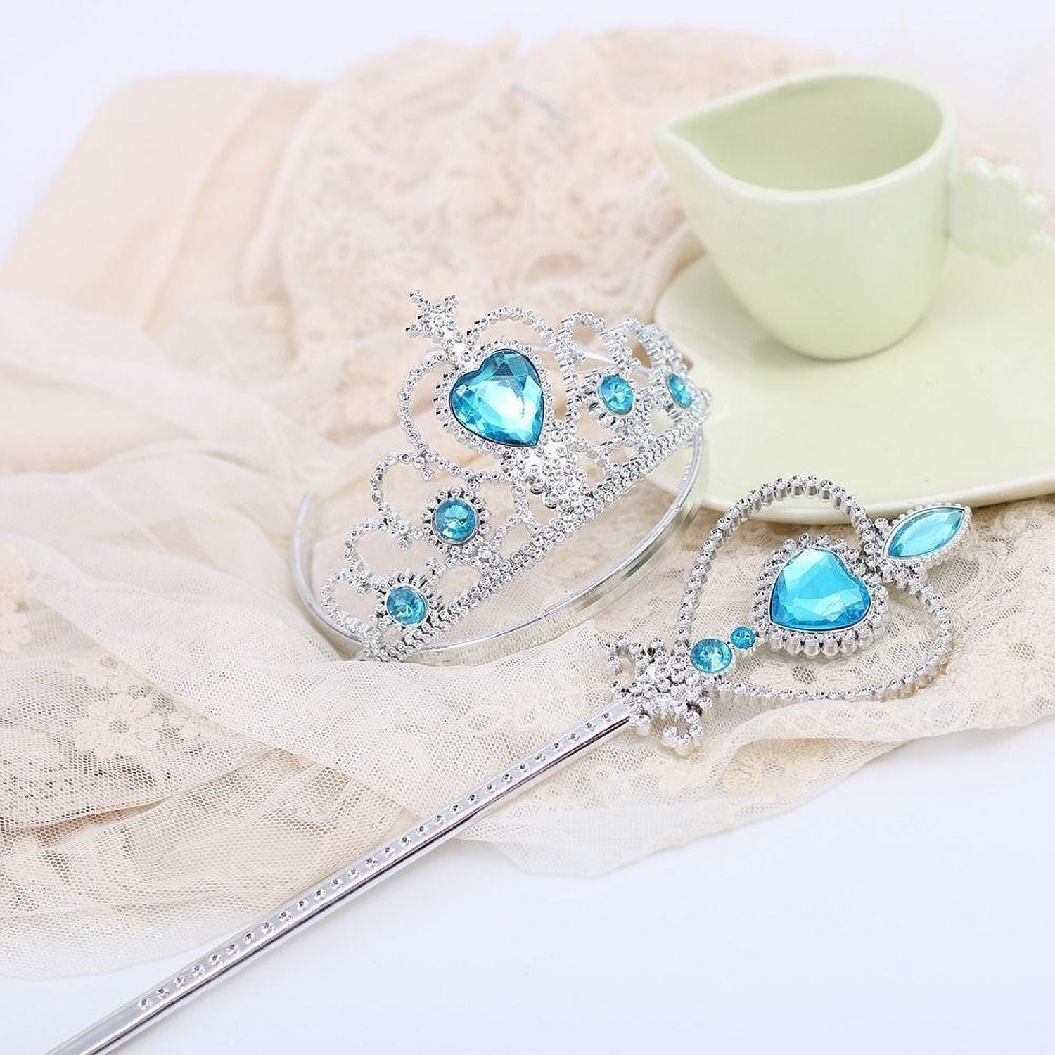 Princess Dress up Party Accessories 3 Piece Gift Set Gloves Tiara and Wand