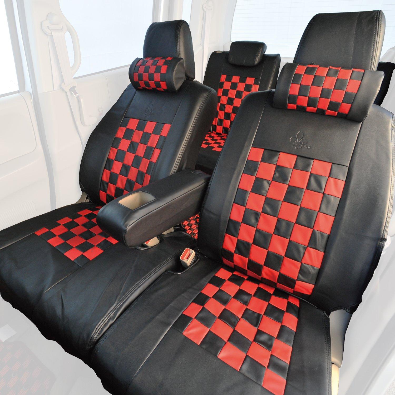 Z-style ハスラー 専用 シートカバー レッドマスクチェック ブラック×レッド ZZ37-CH05 B00L9SZOEY ブラック×レッド ブラック×レッド