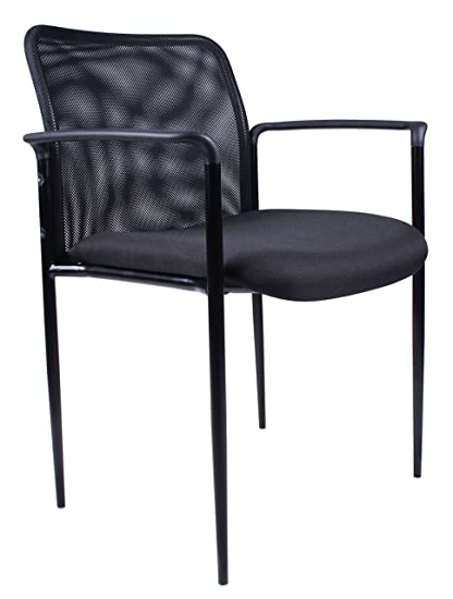 Boss Office Products B6909 BK Stackable Mesh Guest Chair In Black