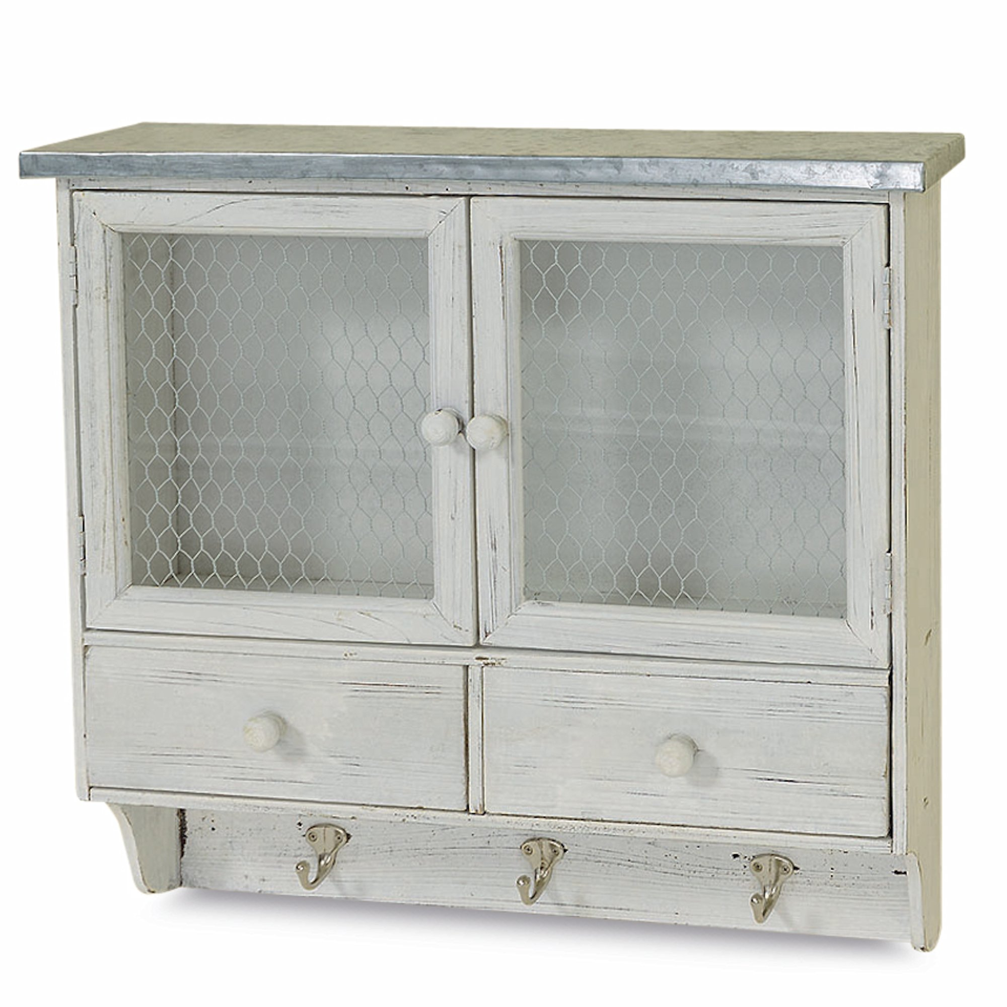 Whole House Worlds The Farmer's Market Shabby Wall Hook Cabinet, 2 Doors, Galvanized Metal, Chicken Wire, Distressed Rustic Finish, White Stained Sustainable Wood, 5¼ L x 23 W x 22 H Inches. By