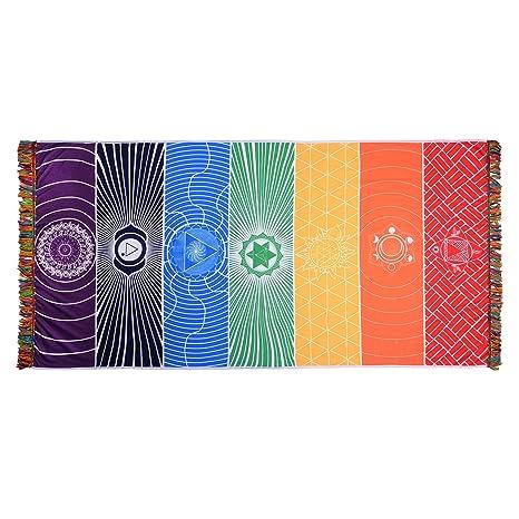 CHIC DIARY Yoga Towels Rainbow Chakra Tapestry Tassel Striped Yoga Rug Floor Mats Beach Towel