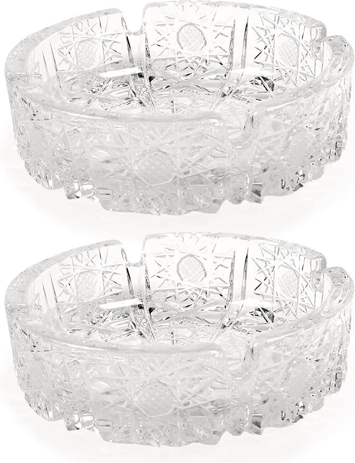 Fargus Glass Ashtrays for Cigarettes, Portable Decorative Modern Ashtray for Home Office Indoor Outdoor Patio Use, Fancy Cute Cool Ash Tray, Pack of 2 (Crystal)