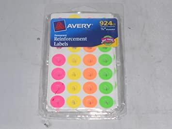 avery 924 count 14 diamiter reinforcement colored labels permenant adhesive sticks stays - Avery Colored Labels