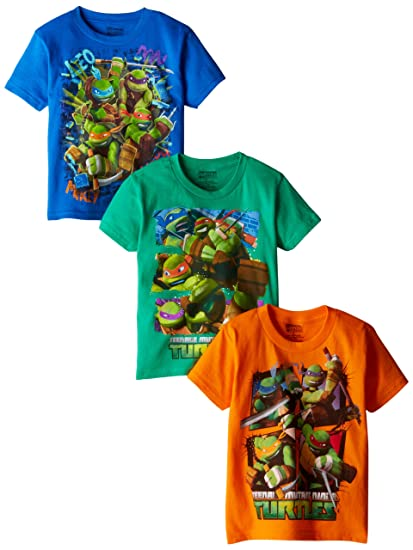 Nickelodeon Little Boys Ninja Turtles 3 Pack T-Shirts, Assorted, 4