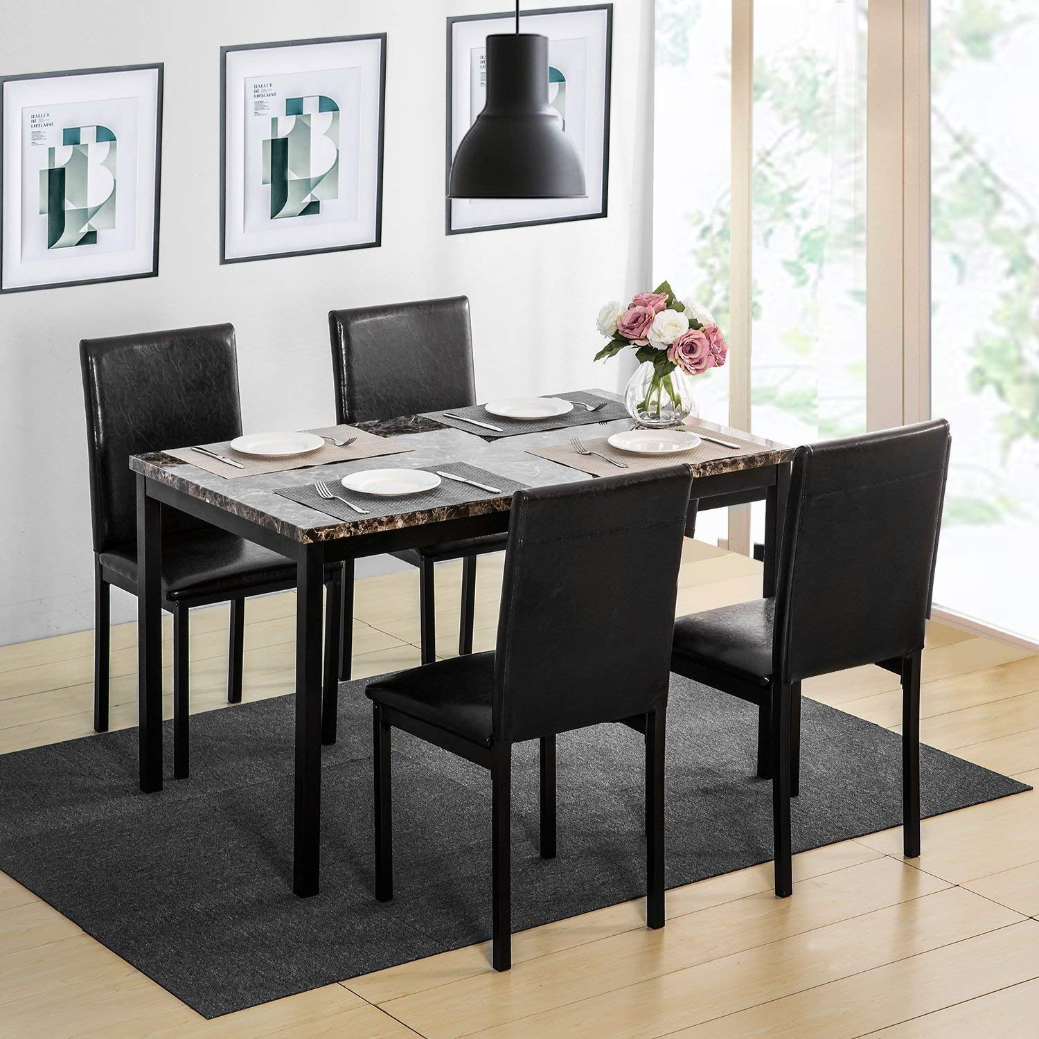 Harper & Bright Designs Dining Table Set for 4, Elegant Faux Marble Desk and 4 Upholstered PU Leather Chairs,