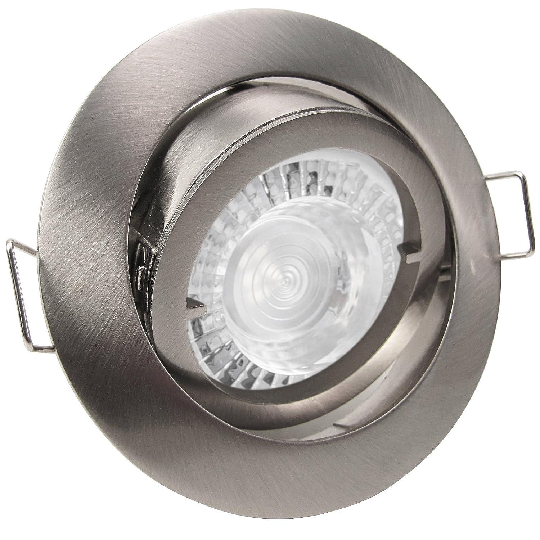 5er Set (3-8er Sets) Einbaustrahler PREMIO Edelstahl Optik gebürstet; 230V GU10; SMD LED 7,5W = 70W; DIMMBAR; Neutral-Weiß; Einbauleuchte; schwenkbar