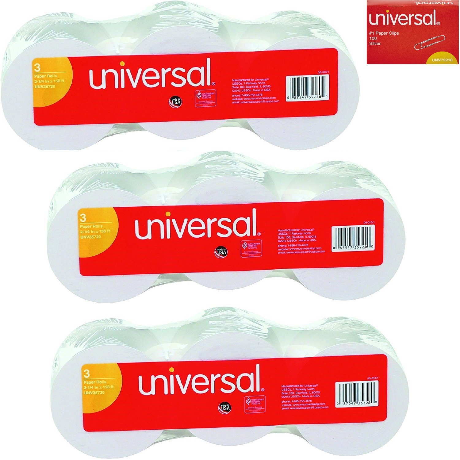 Universal 35720 Adding Machine/Calculator Roll, 16 lb, 1/2 Core, 2-1/4 x 150 ft, White (Pack of 9) Bundle with Dozen Paper Clips