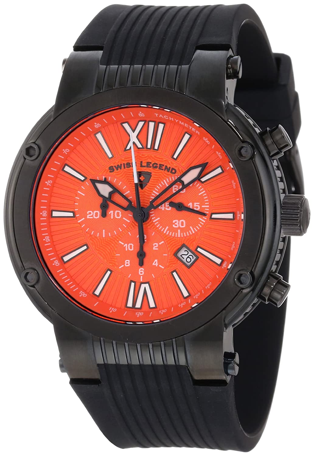 Swiss Legend Men s 10006-BB-06 Legato Cirque Chronograph Orange Textured Dial Black Silicone Watch