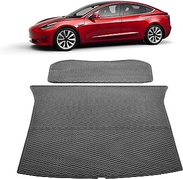 SUPER LINER Tesla Model 3 Trunk Mats Custom Cargo Liner All Weather Trunk Protection Floor Mats