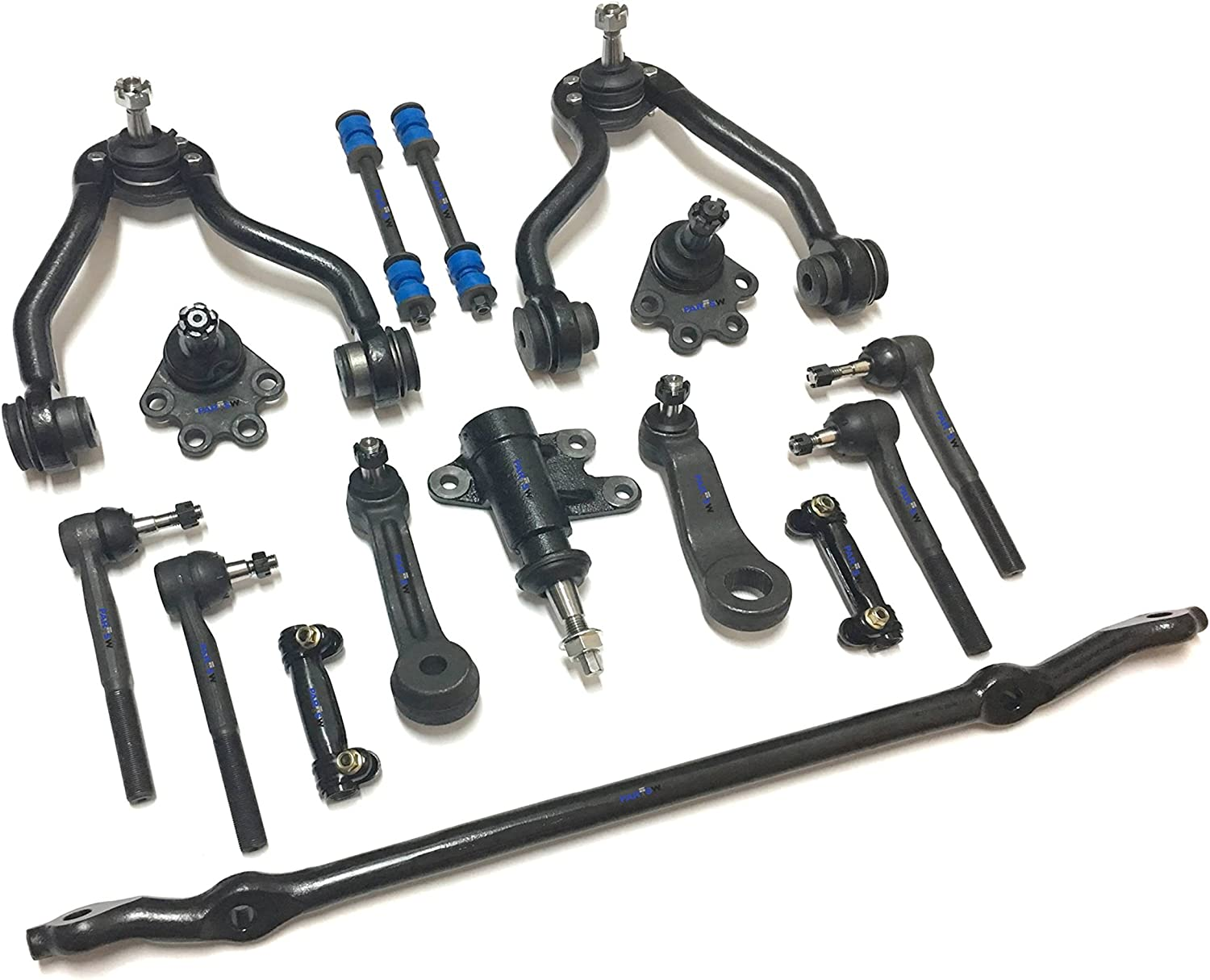 PartsW 16 Pc Suspension Kit for Chevrolet & GMC Truck, Center Link (FOR FREE) Adjusting Sleeves Tie Rod Ends Ball Joints (Bolt On Types) Idler & Pitman Arms Sway Bars Upper Control Arms
