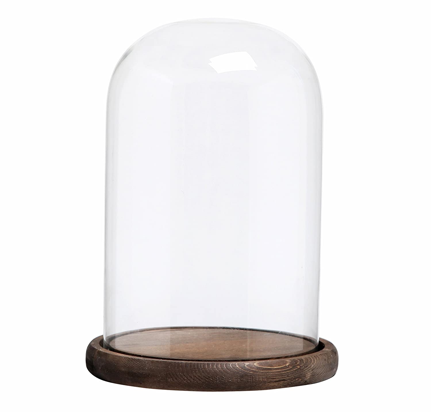 MyGift Decorative Clear Glass Cloche Bell Jar Display Case with Rustic Wood Base/Tabletop Centerpiece Dome, 10 X 7 Inches