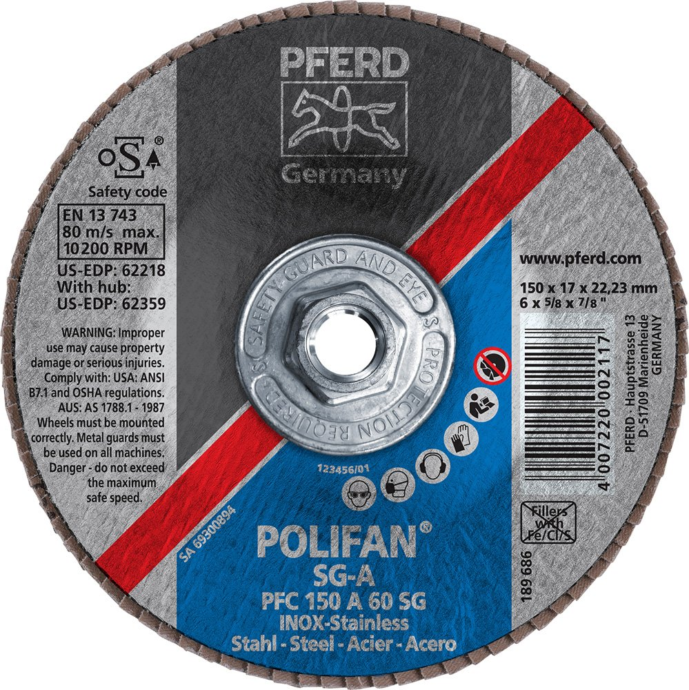 PFERD 62359 POLIFAN Type 29 Conical Flap Disc 5//8-11 Thread 10200 RPM 60 Girt 6 Diameter PFERD Inc. 6 Diameter Aluminum Oxide