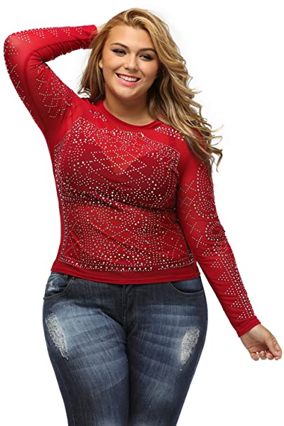 ed1ba0aac13051 Lalagen Women s Plus Size Long Sleeves Rhinestone Bodycon Top at ...