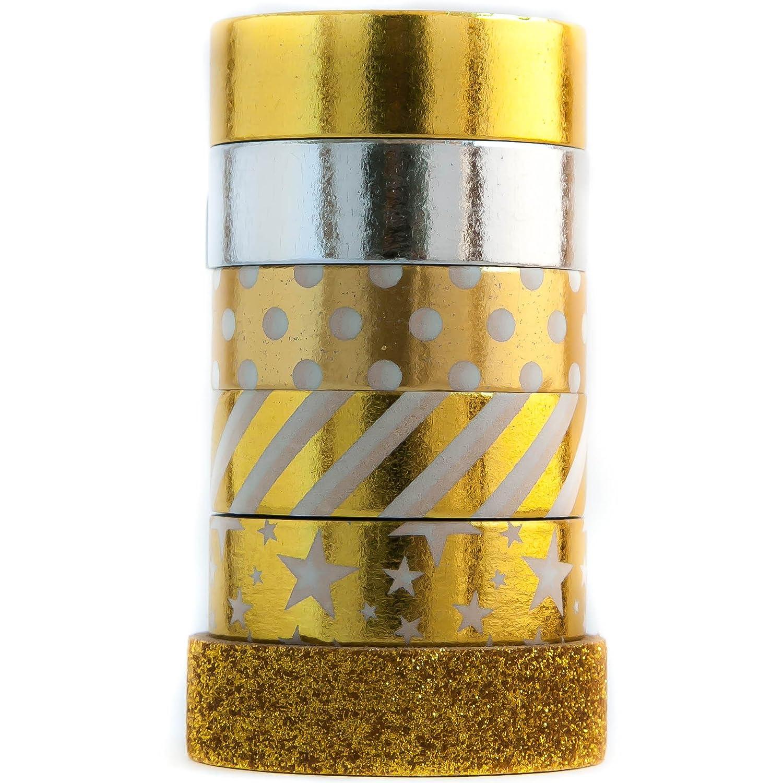 Amazon.com: Glitter Gold Colored Washi Decorative Masking Paper Tape ...