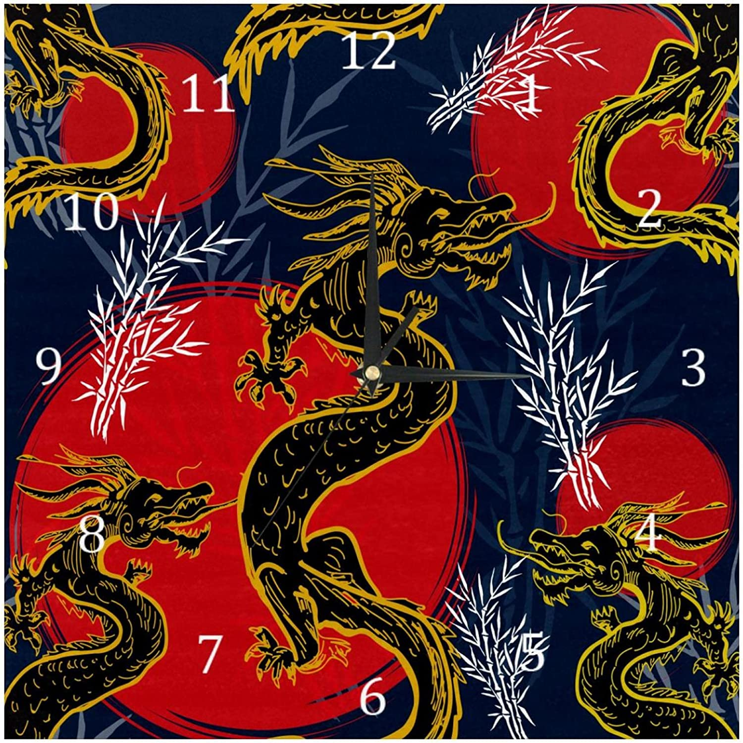 AISSO Wall Clocks Chinese Black Golden Dragon Red Sun Battery Operated Number Clock for Bedroom Living Kitchen Office Home Decor Silent & Non-Ticking