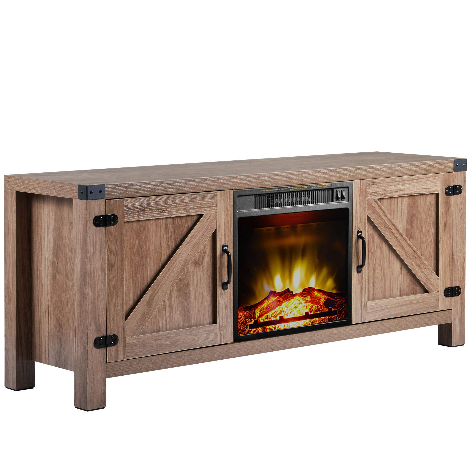 MIERES 58 inch Barn Door Wood Fireplace Stand for TV's up to 65 inch Living Room Storage, Nature by MIERES