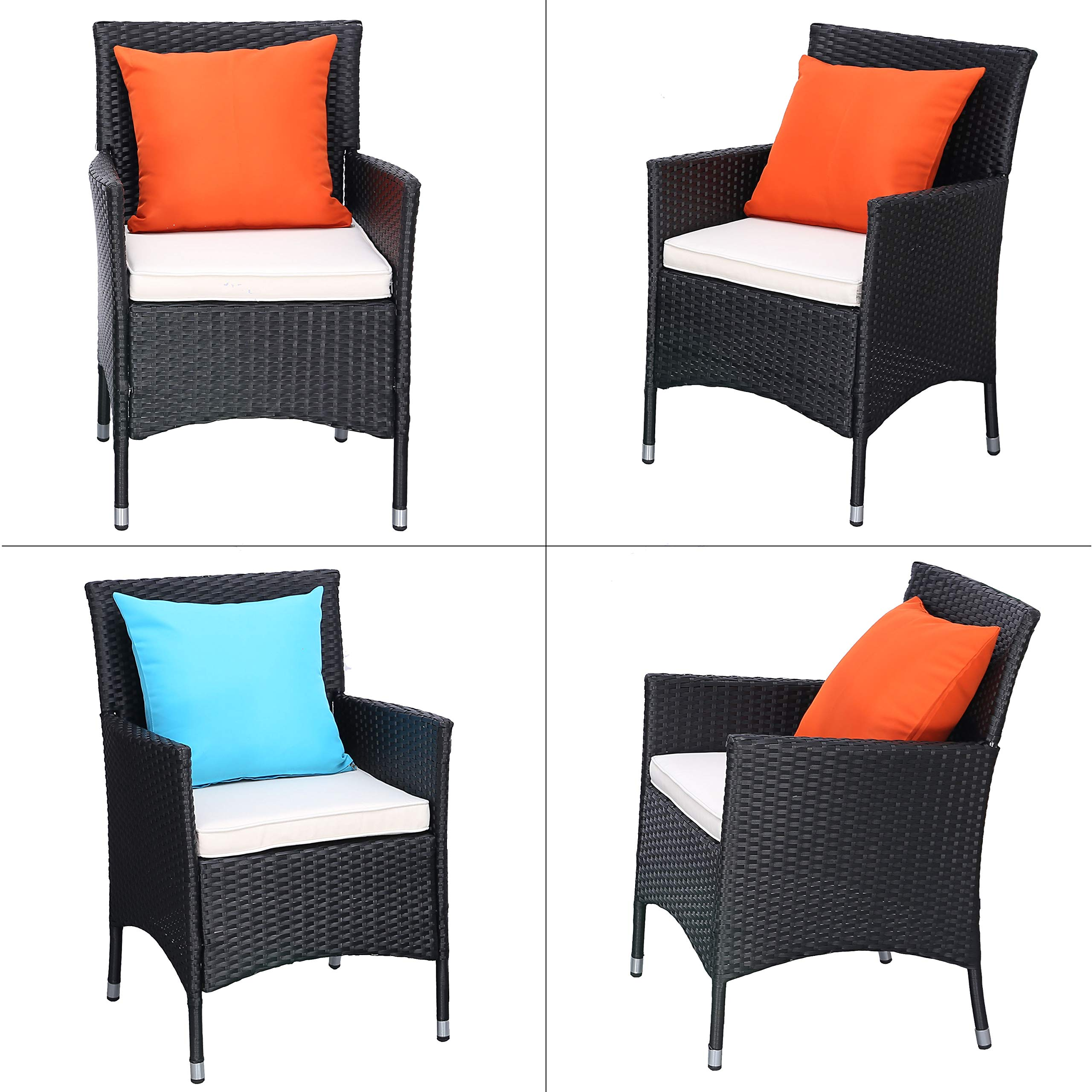 Do4U 3 Pieces Patio Furniture Set Outdoor Wicker Conversation Set Cushioned PE Wicker Bistro Set Rattan Chairs with Coffee Table | Porch, Backyard, Pool Garden | Dining Chairs (961-BLK-BEG) by Do4U (Image #4)