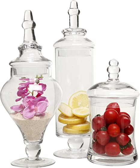 Decorative Weddings Candy Buffet Display Elegant Storage Jar Diamond Star Set of 3 Clear Glass Apothecary Jars H: 9, 12.5, 14