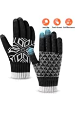 Winter Gloves Touch Screen Warm Knit Gloves, Soft Wool Lining Elastic Cuff, Anti-Slip Rubber Design Warm Gloves for Men Women