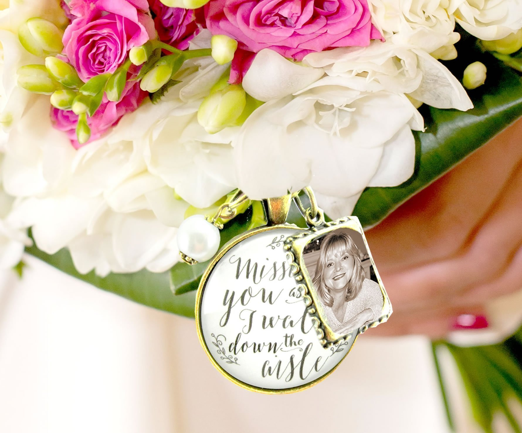 Wedding Bouquet Memory Charm Missing You As I Walk Down the Aisle, White Bridal Pendant Memorial Remembrance Photo Jewelry by Gutsy Goodness