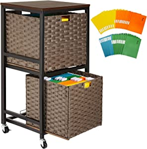 Greenstell File Cabinet with 2 Storage Baskets & 40 Hanging File Folders, 2-Tier Rolling Lateral File Cabinet with Wood Top, Home Office File Cubby for Legal/Letter/A4 File, Easy to Assemble, Black