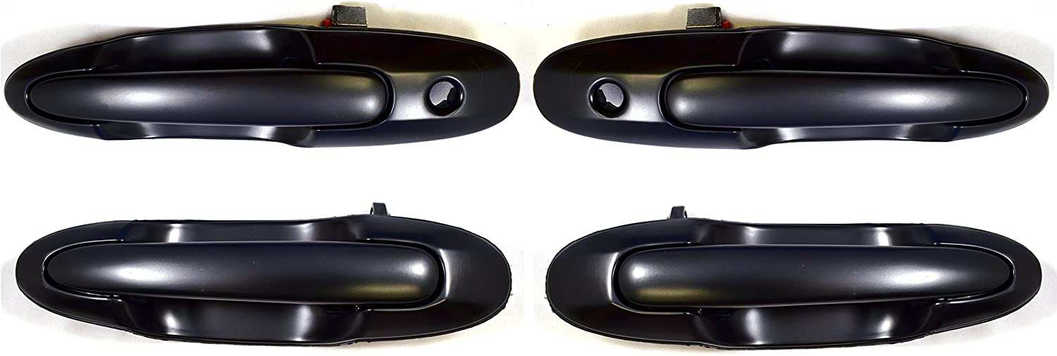 Smooth Black 1 Front Left Outside Exterior Outer Door Handle PT Auto Warehouse GM-3312S-QPK 1 Rear Right 1 Rear Left 1 Front Right