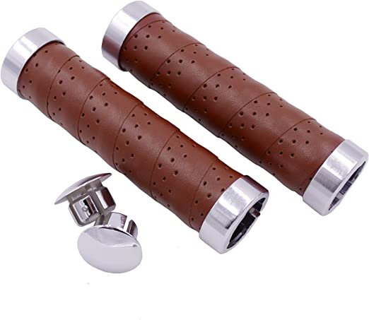 0.318.801//8 CONTEC Grip Ergo Exclusiv Real Leather Bicycle Grips Pair Coffee