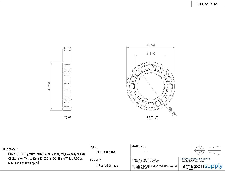 C3 Clearance Polyamide//Nylon Cage 15mm Width Metric 25mm ID 52mm OD 6700rpm Maximum Rotational Speed Schaeffler Technologies Co. FAG 20205T-C3 Spherical Barrel Roller Bearing