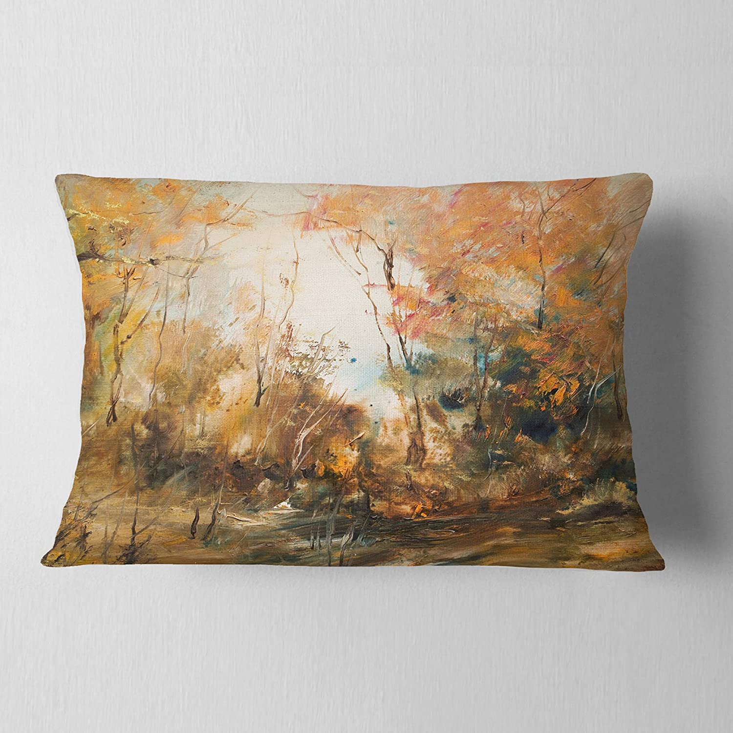 Sofa Throw Pillow 12 in Designart CU8512-12-20 Forest in Autumn Oil Landscape Painting Lumbar Cushion Cover for Living Room Insert Printed On Both Side in x 20 in