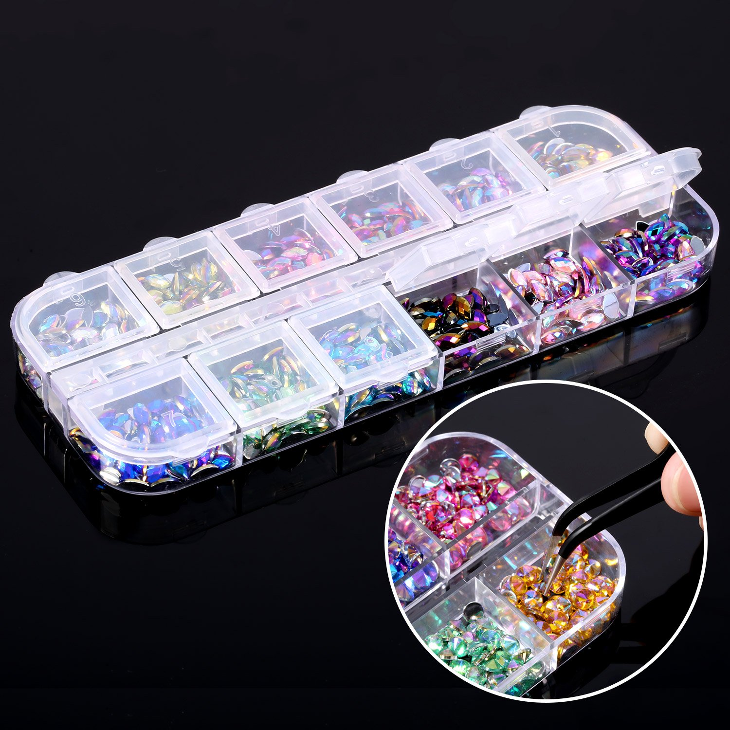 Bememo 4300 Pieces (4 Boxes) Nail Art Rhinestones Kit Nail Rhinestones with 1 Piece 1 Pick up Tweezers, Multicolor Nail Studs Horse Eye Rhinestones for Nail Art Decorations Supplies by Bememo (Image #7)