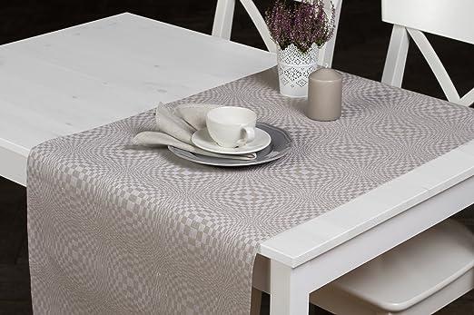 Lino fashion: mezcla de lino camino de mesa en color gris y blanco ...