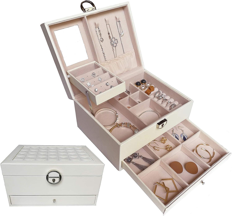 HerFav Bo/îte /à Bijoux pour Femmes en Cuir Blanc Verrouillable avec Miroir et Compartiments pour Bagues Boucles D/'Oreilles Bracelets Colliers