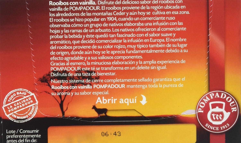 Pompadour Tes del Mundo Rooibos Vainilla - 20 Bolsitas: Amazon.es: Amazon Pantry