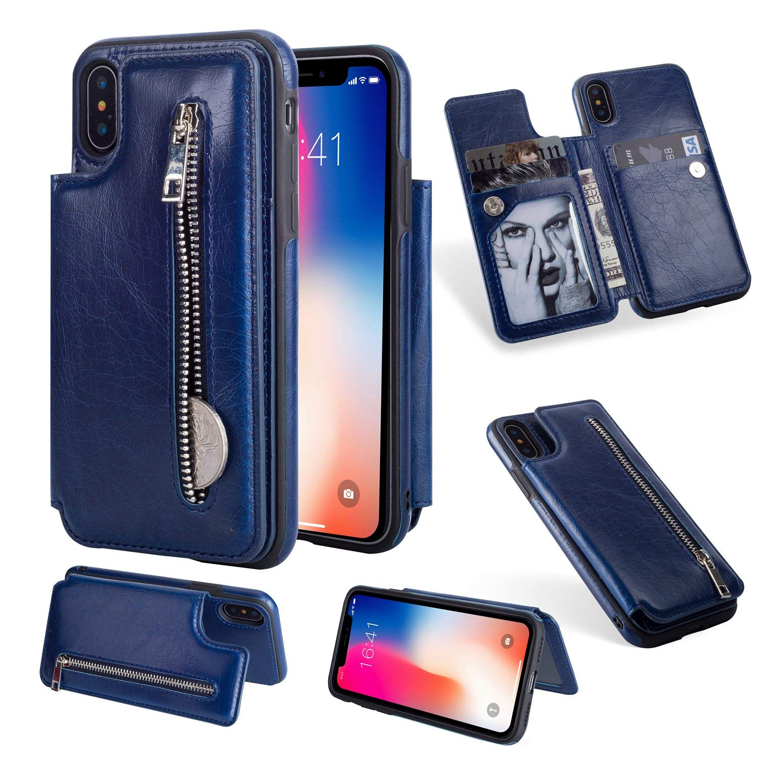 Jennyfly iPhone XR Cover, Fashion Zipper Magnetic Closure Wallet Design Premium Durable Leather Zipper Protective Cover with Card Slots & Money Pocket for iPhone XR 6.1 Inch - Blue by Jennyfly