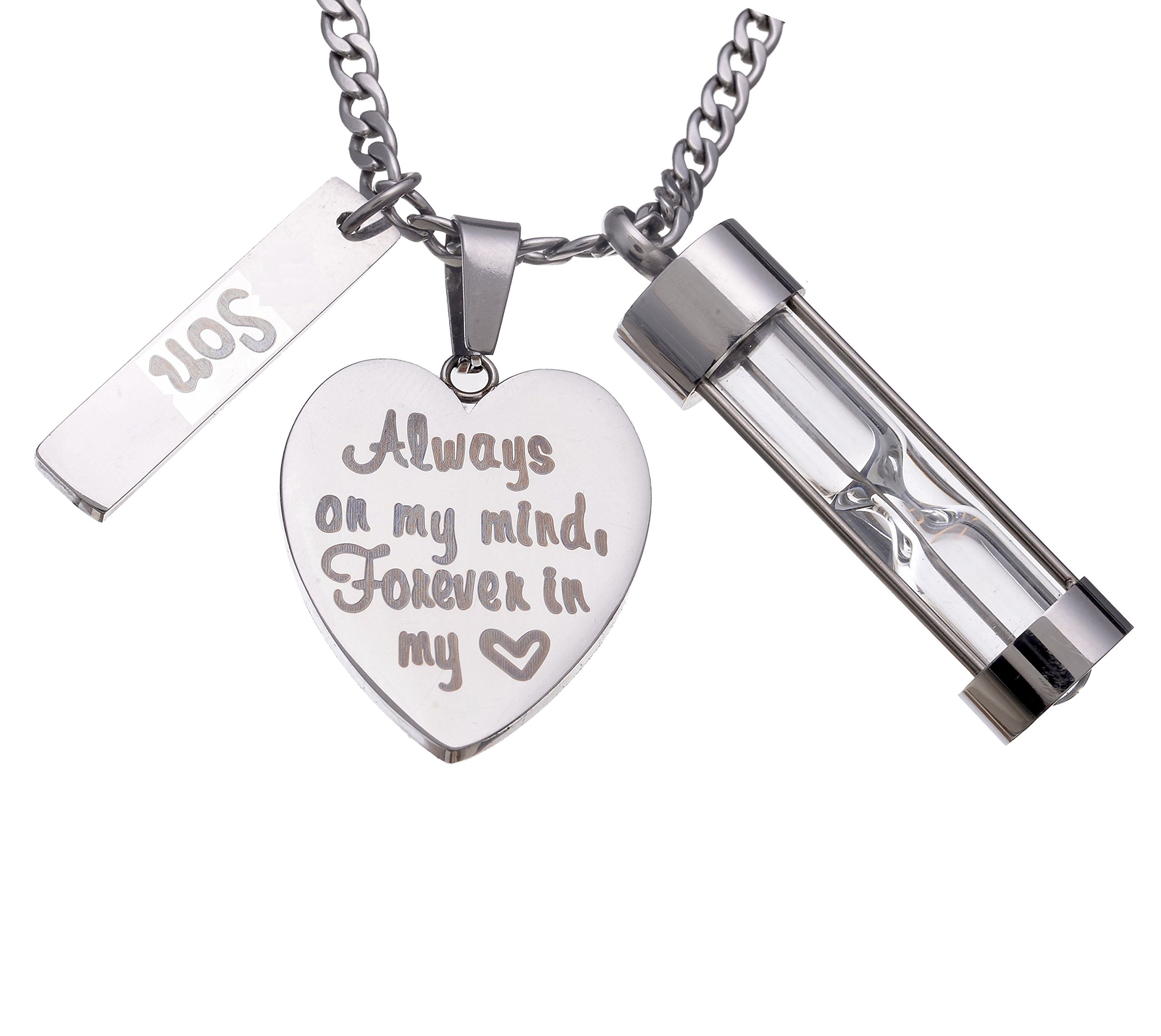Stainless Steel Hourglass Ashes Urn Memorial for Son Keepsake Pendant Necklace,Always on my Mind Forever in my Heart