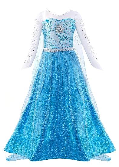 1db28a948f0e2 Padete Little Girls Anna Princess Dress Elsa Snow Party Queen Halloween  Costume