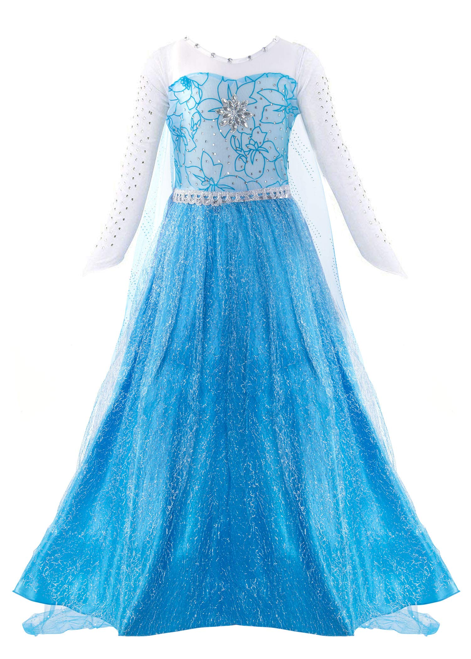 Padete Little Girls Anna Princess Dress Elsa Snow Party Queen Halloween Costume (4 Years, Blue Long Sleeve)
