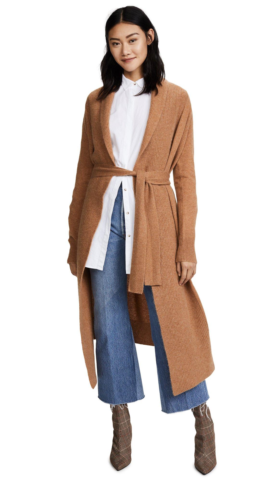 360 SWEATER Women's Shayanne Cashmere Cardigan, Acorn, Medium