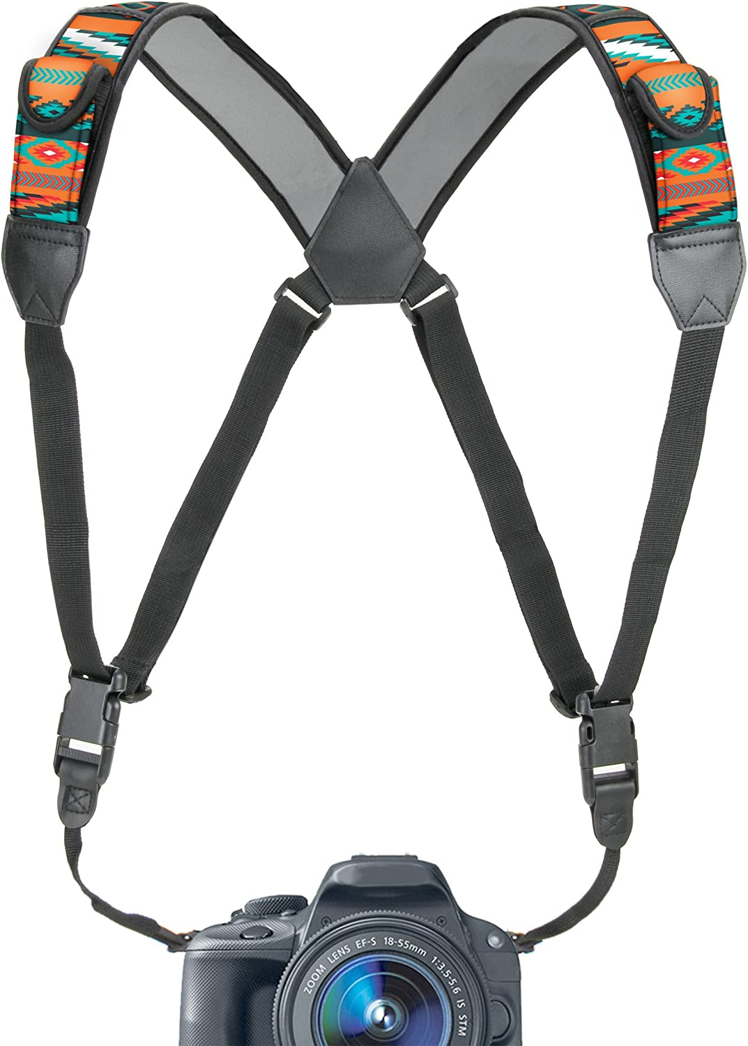 USA GEAR DSLR Camera Strap Chest Harness with Quick Release Buckles, Southwest Neoprene Pattern and Accessory Pockets - Compatible w/Canon, Nikon, Sony and More Point and Shoot and Mirrorless Cameras