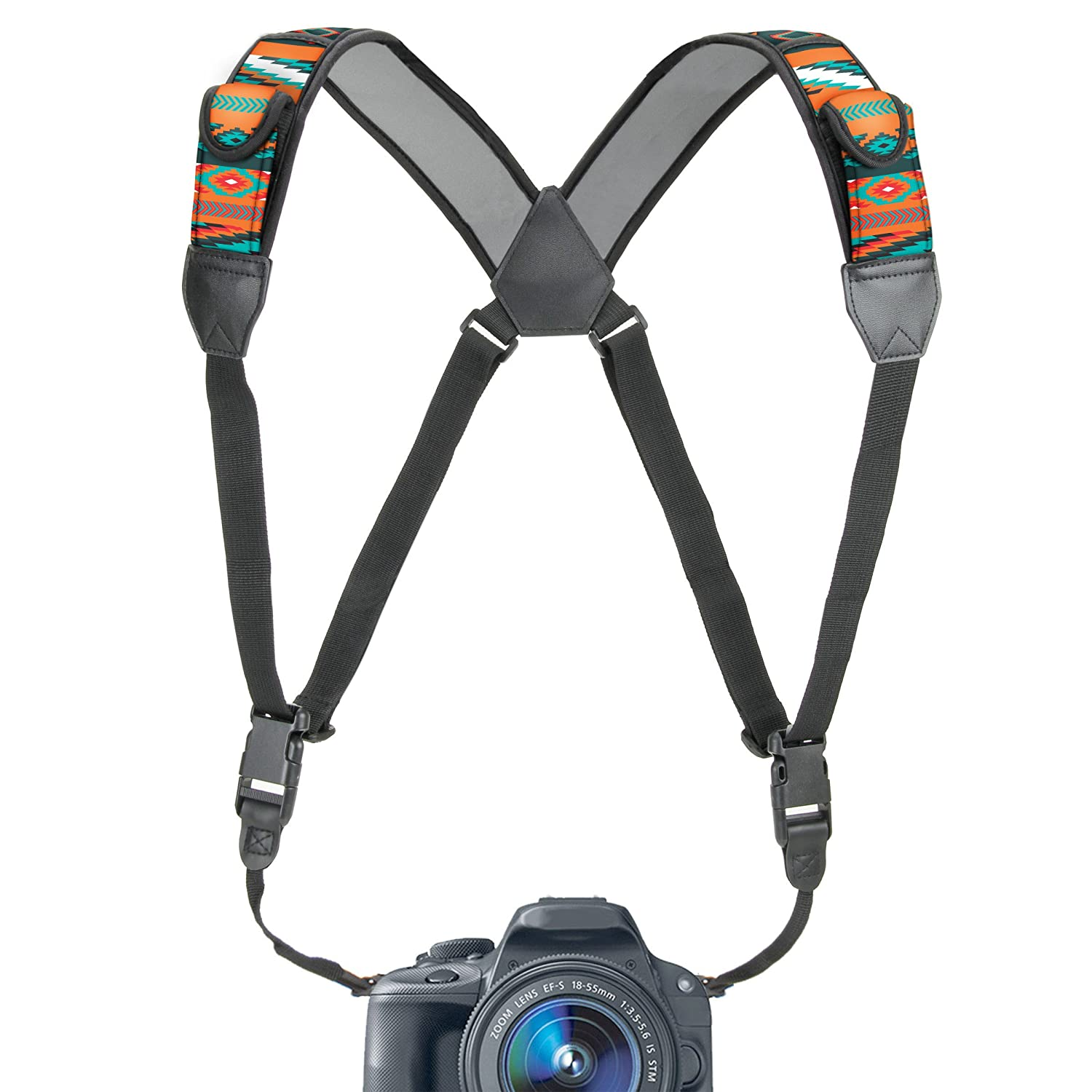 Camera Strap Chest Harness with Southwest Neoprene and Accessory Pockets by USA GEAR - Works with Canon , Nikon , Fujifilm , Sony , Panasonic and More DSLR , Point & Shoot , Mirrorless Cameras Accessory Power GRCMHS0100SWEW